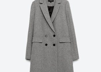wełniany płaszcz o męskim kroju ZARA roz. M/38