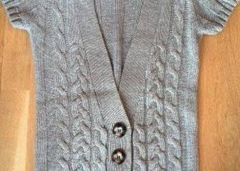 Sweter beżowy warkocz nowy wełna
