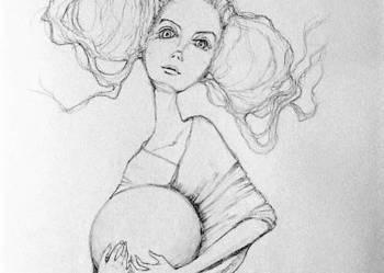 """Rysunek ołówkiem """"Kula"""" artystki plastyka Adriany Laube"""