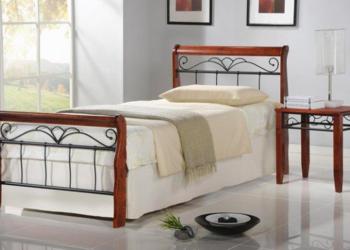 Łóżko metalowe czarne z litym drewnem 90x200 drewniane NOWE