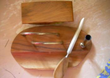 Stary niezbędnik na biurko drewniany