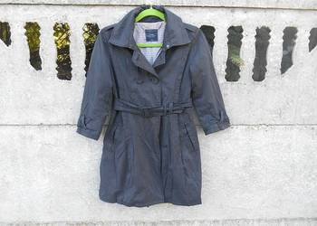 Płaszcz XS dwurzędowy szary z paskiem wiosna/jesień