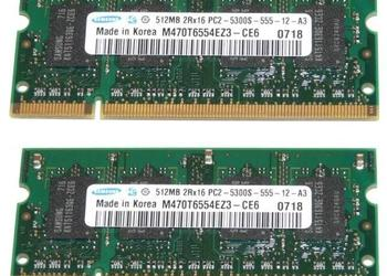 Pamięci Samsung DDR2 2x 512 MB PC5300 do laptopa