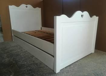 Drewniane łóżko 180x80 białe dziecięce z serduszkiem