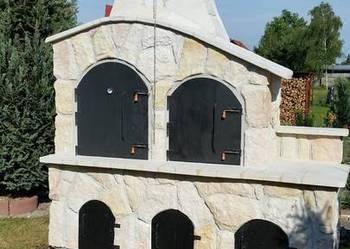 wędzarnia z grillem, wędzarnia murowana z kamienia, piec