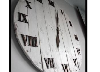 "zegar ""Shabby"" z desek drewna industrial, loft vintage"