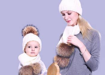 Zimowe czapki dla dorosłych i dzieci unisex pompony z futra