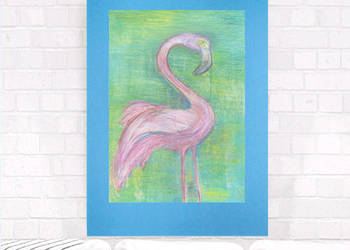 ładny rysunek do pokoju,rysunek pastel,szkic flaming obrazek