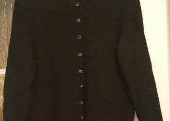 Ażurowy, czarny rozpinany, SWETER, sweterek BOUCLE, duży