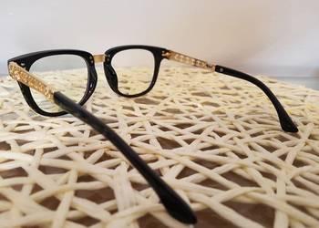 Okulary oprawki damskie vintage stan nowy czarno złote