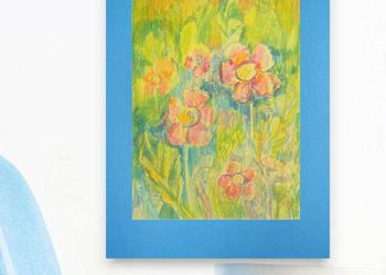 ładny obrazek z łąką,rysunek z kwiatami,łąka rysunek do poko