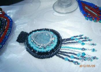 Wisior druza beading niebieski czrny