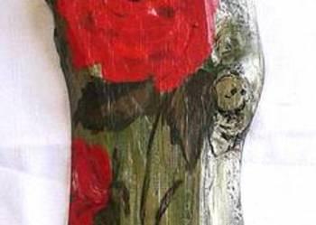 Róże czerwone-obraz olejny na desce