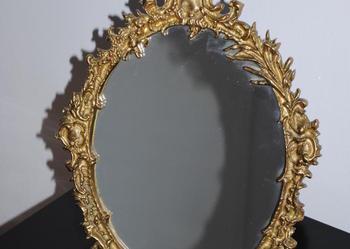 Zdobiona mosiężna RAMA lustro kryształ mosiądz