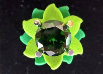 srebrny pierścionek zielony kwiat