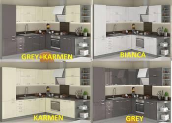Meble kuchenne.Kuchnia Rose, Karmen, Grey, Bianca.Połysk