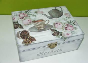 Pudełko na herbatę decupage herbaciarka