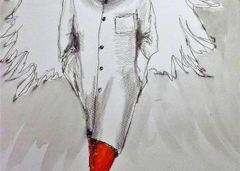 """Akwarela i piórko """"Kot cieniem anioła"""" artystki A. Laube"""