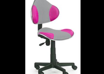 Krzesło obrotowe dla dziewczynki różowe z szarym FLASH Q-G2