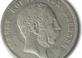 5 marek Albert 1876r E Sachsen Saksonia ORYGINAŁ