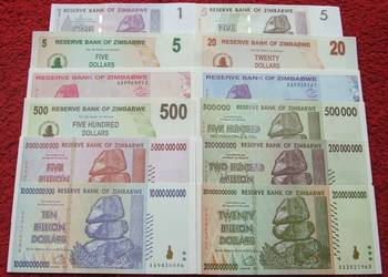 ZIMBABWE Kolekcjonerskie Banknoty Zestaw - 14 sztuk UNC