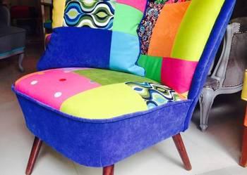 Fotel Antyk Klubowy Patchwork Krzesło Unikat