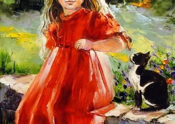 Kotek - Obraz olejny 30x40cm dziewczynka