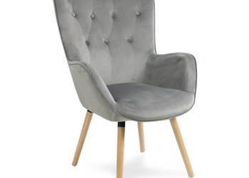 Wygodny welurowy pikowany fotel szary  ! Promocja !