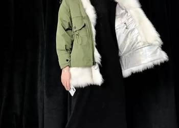 Zimowa damska kurtka obszyta futrem z lisa S-XL puch kaczy