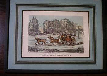 Obrazek gabinetowy - dyliżans w śniegu