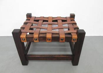 Drewniany Designerski podnóżek Skóra puff Loft Design Modern