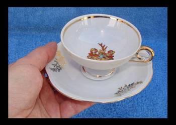 Stara porcelanowa złocona filiżanka ze spodkiem FORST