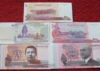 KAMBODŻA Kolekcjonerskie Banknoty Zestaw - 5 sztuk UNC