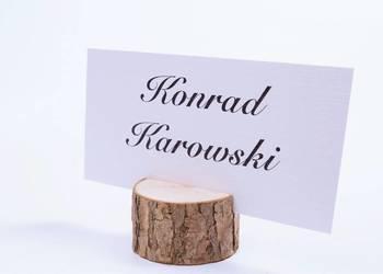 Winietki z drewnianą podstawką z korą, papier biały WD12
