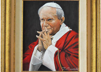 Obraz olejny Papież Jan Paweł 2 Ojciec Święty z ramą