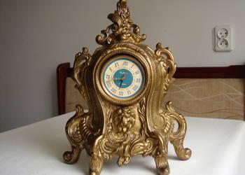 Mosiężny zegar kominkowy z lwem Slava