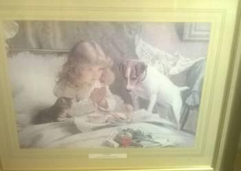 Obraz dziewczynka pies i kot- wyprzedaz staroci