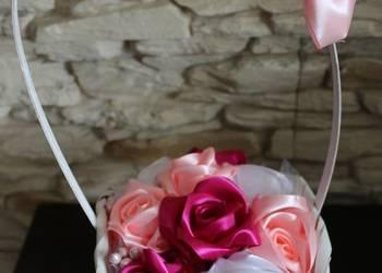 Koszyczek z różami Prezent na komunie, wesele itp Handmade R