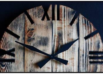 Zegar z drewna, desek z palet vintage shabby loft duży