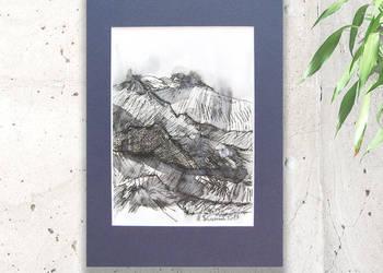 Krajobraz górski rysunek,czarno biały obrazek do salonu,szki