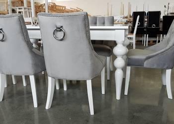 Pikowane hampton glamour krzesło z kołatką tapicerowane