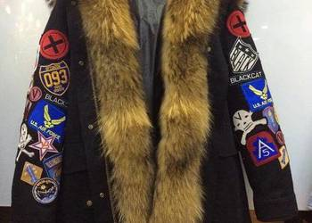 Zimowa kurtka/ płaszcz z naszywkami  obszyta jenotem S-XL