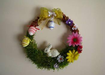 Wianek Wielkanocny wiosenny stroik na drzwi okno ręcznie rob
