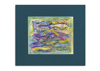 akwarela obrazek,ryby akwarela,nowczesny obrazek do pokoju