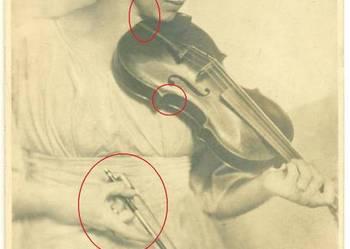 Stara pocztówka zdjęcie kobieta skrzypce lata 20-te? 30-te?