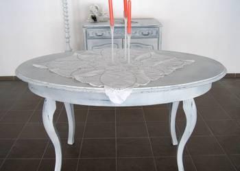 **Stylizowany stół shabby chic, biel, Ludwik**