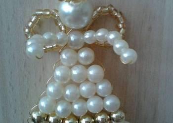 Komunia, chrzciny - Aniołek z koralików (Hand Made), podzięk
