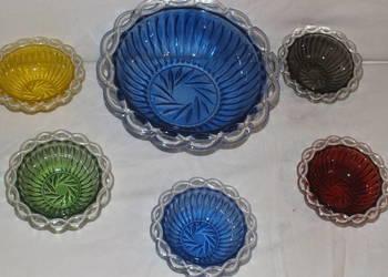 Misa i pięć miseczki z kolorowego szkła w stylu Art Deco