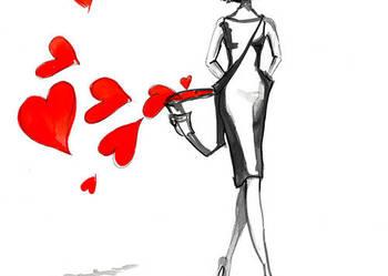 Praca akwarelą i piórkiem ''Niesie mnie miłość'' A. Laube