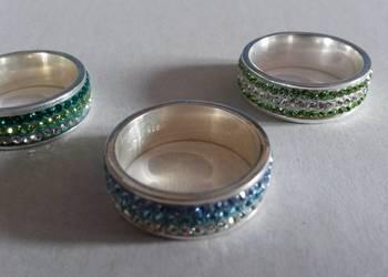 Obrączka, pierścionek srebro i Swarovski